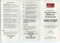 The 2nd Annual Acupuncture Research Symposium - Saturday 1 March 1997