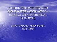 Cupping for patients with inflammatory complaints: clinical and biochemical outcomes - Ilkay Chirali and Roz Gibbs