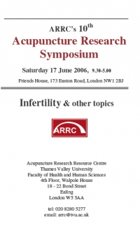 The 10th Acupuncture Research Symposium - Saturday 17th June 2006