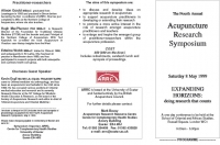 The 4th Annual Acupuncture Research Symposium - Saturday 8 May 1999
